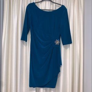 Teal party dress w/rhinestone - size 12p